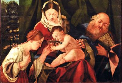 Bottega di Lorenzo Lotto Sposalizio mistico di Santa Caterina alla presenza di san Girolamo, 1507 Olio su tavola, 36,5 x 52 x 2,5 cm Collezione privata