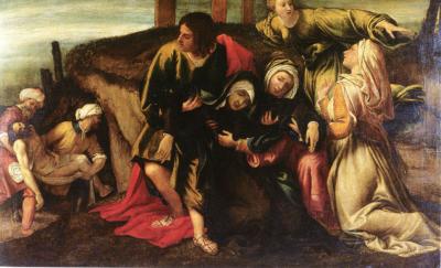 Lorenzo Lotto Svenimento della Vergine durante il trasporto di Cristo al sepolcro, 1541 Olio su tela, 142 x 212 cm Strasburgo, Musée des Beaux-Arts