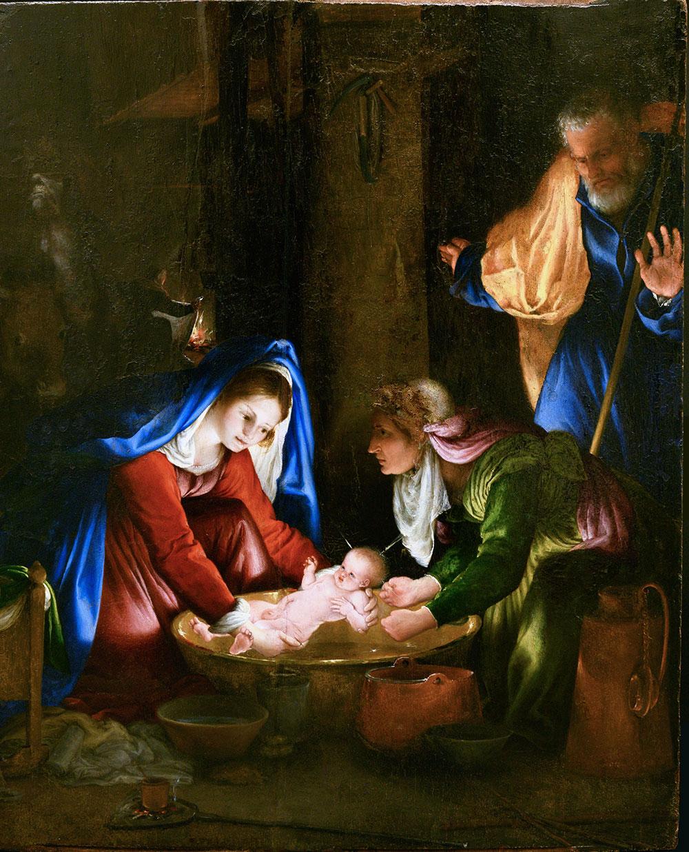 Lorenzo Lotto Natività in notturno (Madonna che lava il Bambino), 1526 Olio su tavola, 55,5 x 45 cm Siena, Pinacoteca Nazionale di Siena