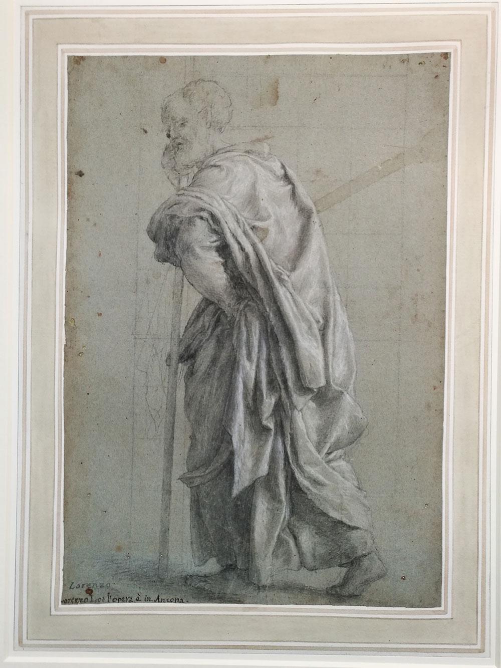 Lorenzo Lotto Studio per il San Mattia (San Simone) della pala di Ancona, 1550 Disegno, 40,6 x 28,1 cm Londra, The British Museum