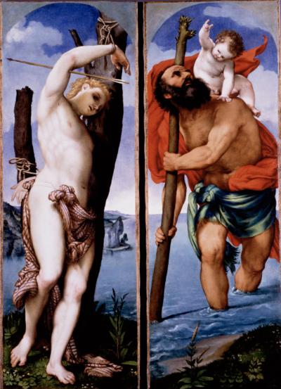 Lorenzo Lotto San Cristoforo e San Sebastiano, 1538-1539 Olio su tela, 162 x 56,8 cm ciascuno Berlino, Staatliche Museen su Berlin, Gemäldegalerie